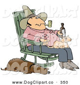 Clip Art of a Man Smoking a Pipe and Drinking a Beer While Sitting in a Rocking Chair with a Cat in His Lap and His Sleeping Hound Dog at His Side by Djart