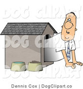 Clip Art of a Man Waiting in a Dog House by Djart