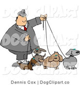 Clip Art of a Man Walking His Many Dogs by Djart