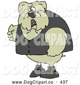 Clip Art of a Mean and Tough Bulldog Wearing a Vest and Looking Angrily at the Viewer by Djart