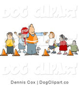 Clip Art of a Middle Aged Crosswalk Crossing Guard with a Stop Sign, Directing School Children and a Dog to Cross the Street by Djart