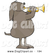 Clip Art of a Musical Brown Spotted Pet Dog Standing on His Hind Legs and Blowing While Playing a Golden Trumpet by Djart
