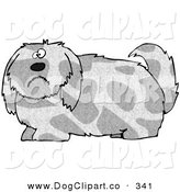 Clip Art of a Overly Large Spotted Gray and Tan Dog with Long Shaggy Hair, Looking at the Viewer with a Sad or Confused Expression by Djart