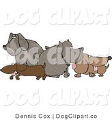 Clip Art of a Pack of Dogs Standing and Sitting in a Group by Djart
