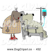 Clip Art of a Pair of Male Bloodhounds Seated in a Chair, Donating Blood While a Nurse Stands by by Djart