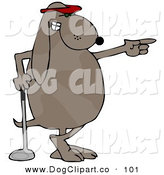 Clip Art of a Pro-Golfing Sporty Dog Wearing a Red Visor Hat and Standing with His Ankles Crossed While Leaning on a Golf Club and Pointing by Djart