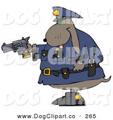 Clip Art of a Proud Police Officer Brown Dog Holding a Pistil by Djart