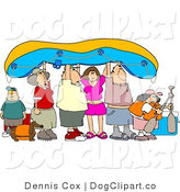 Clip Art of a Rafting Family by Djart