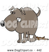 Clip Art of a Revengeful Dog Pooping on the Floor After Being Scolded by Djart