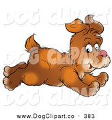 Clip Art of a Running Brown Puppy Dog Glancing While Passing by Alex Bannykh