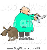 Clip Art of a Scared Brown Dog with Balls, Cowering with Its Legs Between Its Tail As a Male Veterinarian Prepares the Tools for a Neuter Surgery by Djart