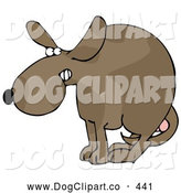 Clip Art of a Scared Dog at the Vets Office, Cowering with His Tail Tucked Between His Legs, Protecting His Testicles Before Getting Neutered, on White by Djart