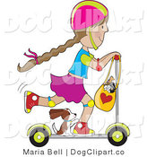 Clip Art of a Scooter Girl with a Puppy Hitching a Ride by Maria Bell