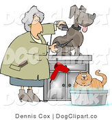 Clip Art of a Senior Pet Groomer by Djart