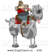 Clip Art of a Silly Cowboy Guy Riding a Giant Great Dane Instead of a Horse by Djart
