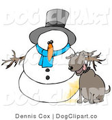Clip Art of a Silly Dog Urinating on a Snowman by Djart