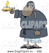 September 27th, 2012: Clip Art of a Sleepy Dog in a Robe, Holding a Candle by Djart