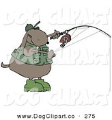 September 14th, 2012: Clip Art of a Sporty Brown Dog in a Vest and Hat, Fishing by Djart