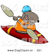 Clip Art of a Sporty Brown Dog Wearing a Life Jacket and Kayaking on White by Djart