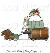 Clip Art of a Stout German Man Transporting a Wooden Barrel/Keg of Beer to a Party by Djart