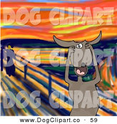 Clip Art of a Stressed out Brown Pet Dog Holding His Paws to His Cheeks While Screaming, a Humorous Parody of the Scream by Edvard Munch by Djart