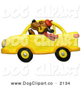 Clip Art of a Stuffy Brown Dog in a Yellow CarStuffy Brown Dog in a Yellow Car by Amy Vangsgard