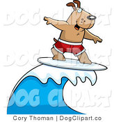 Clip Art of a Surfing Dog in Red Trunks by Cory Thoman