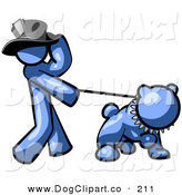 Clip Art of a Swanky Blue Man Walking a Tough Pet Bulldog on a Leash by Leo Blanchette