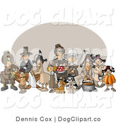 Clip Art of a Thanksgiving Gathering by Djart