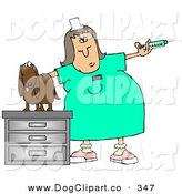Clip Art of a Vet Tech Preparing a Large Syringe to Be Given to a Worried Dachshund Dog by Djart