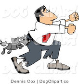 Clip Art of a Vicious Little Dog Attacking a Man Running Away by Djart