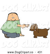 Clip Art of a White Boy Kneeling to Feed a Brown Dog Some Tasty Human Food by Djart