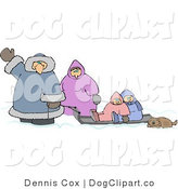 Clip Art of a Winter Family Traveling with Their Brown Pet Dog by Djart