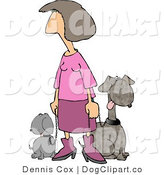 Clip Art of a Woman Dressed in Pink Taking Her Two Happy Dogs for a Walk Around the Block by Djart
