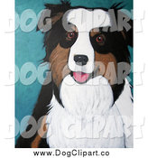 September 23rd, 2014: Clip Art of an Australian Shepherd or Sheepdog Portrait by Maria Bell