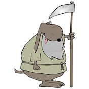 September 29th, 2012: Clip Art of an Old Brown Dog with a Gray Beard, Holding a Scythe by Djart