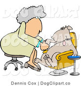 Clip Art of an Old Female Dog Groomer Giving a Pampered Pooch a Pedicure by Djart