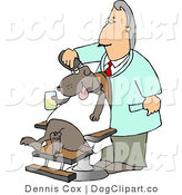 Clip Art of an Old Male Dog Groomer Grooming a Dog with a Razor While He Sits in a Chair, Holding a Drink by Djart
