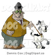 Clip Art of an Old Man Walking a Black and White Dog in Park by Djart