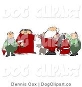 Clip Art of Elf Helpers, Dog and the Mrs Helping Santa Claus Get Ready in the Morning by Djart