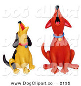 Clip Art of Howling Red and Yellow DogsHowling Red and Yellow Dogs by Amy Vangsgard