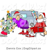 Clip Art of Mr. and Mrs. Santa Clause Celebrating Christmas on the Road with Their Dog by Djart