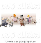 Clip Art of People Showing and Walking Their Dogs at a Dog Show by Djart
