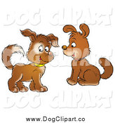 Clip Art of Puppy Dogs with Collars, One Looking at the Viewer by Alex Bannykh