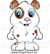 Vector Cartoon Clip Art of a Baby Dog with Brown Spots and a White Coat by Cory Thoman