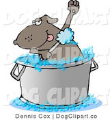 Vector Cartoon Clip Art of a Bathing Dog Scrubbing His Armpits by Djart