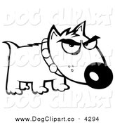 Vector Cartoon Clip Art of a Black and White Bull Terrier Dog by Hit Toon