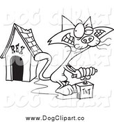 December 29th, 2014: Vector Cartoon Clip Art of a Black and White Cat Blowing up a Dog House by Toonaday