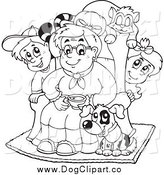 Vector Cartoon Clip Art of a Black and White Granny with Pets and Children by Visekart