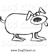 September 11th, 2014: Vector Cartoon Clip Art of a Black and White Happy Dog by Djart
